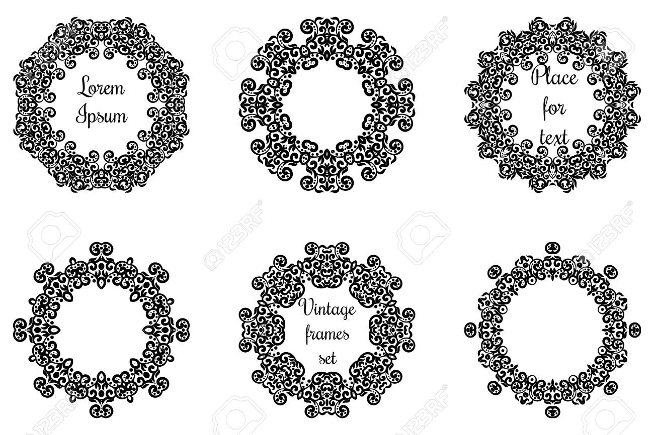 Round Geometric Ornaments Set Intricate Lacy Vector Round Frames ...