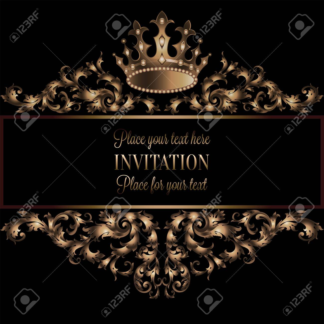 Vintage gold invitation card with black background divider vintage gold invitation card with black background divider header ornamental lacy vector frame stopboris Image collections