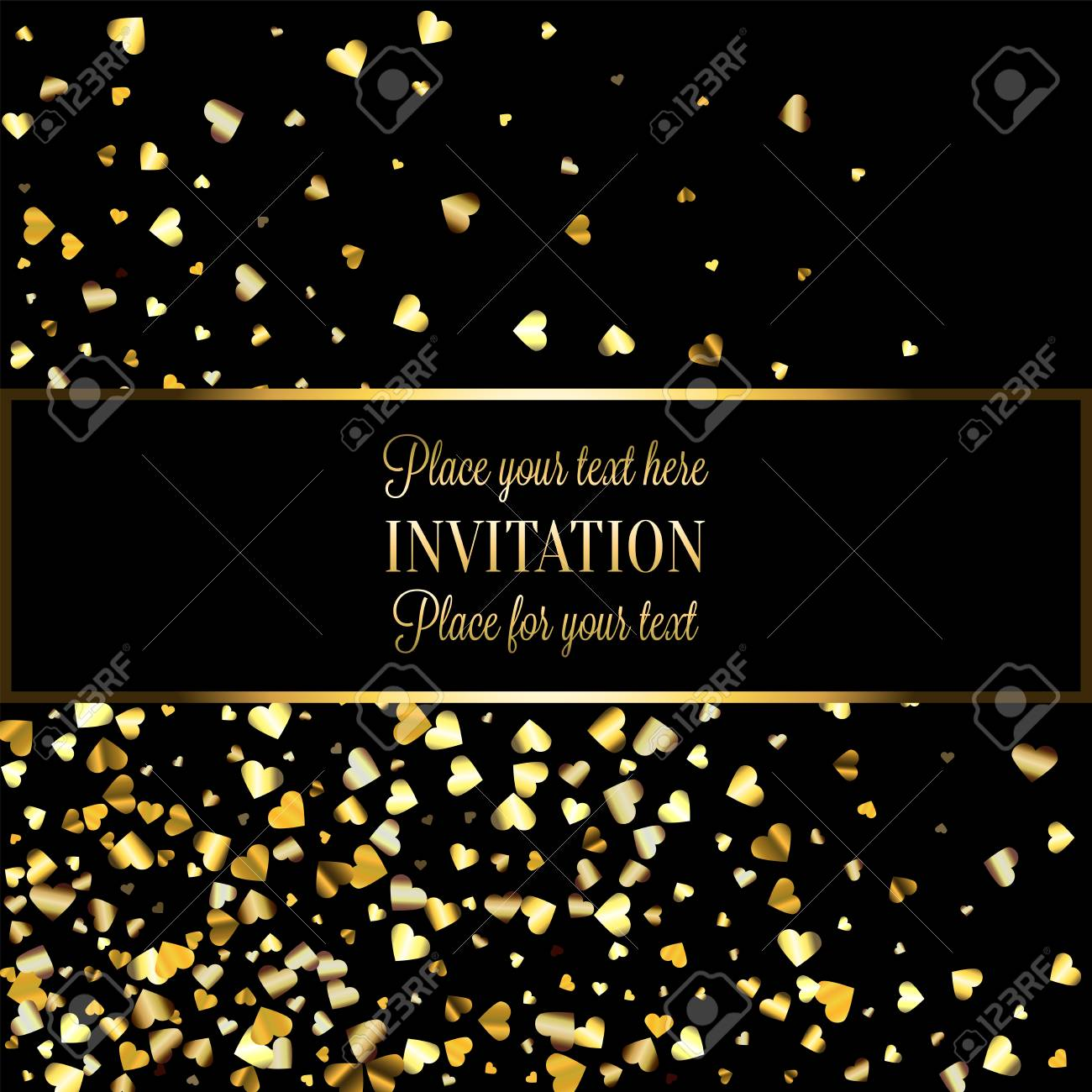 Gold Gradient Hearts Random Confetti Invitation Card Template
