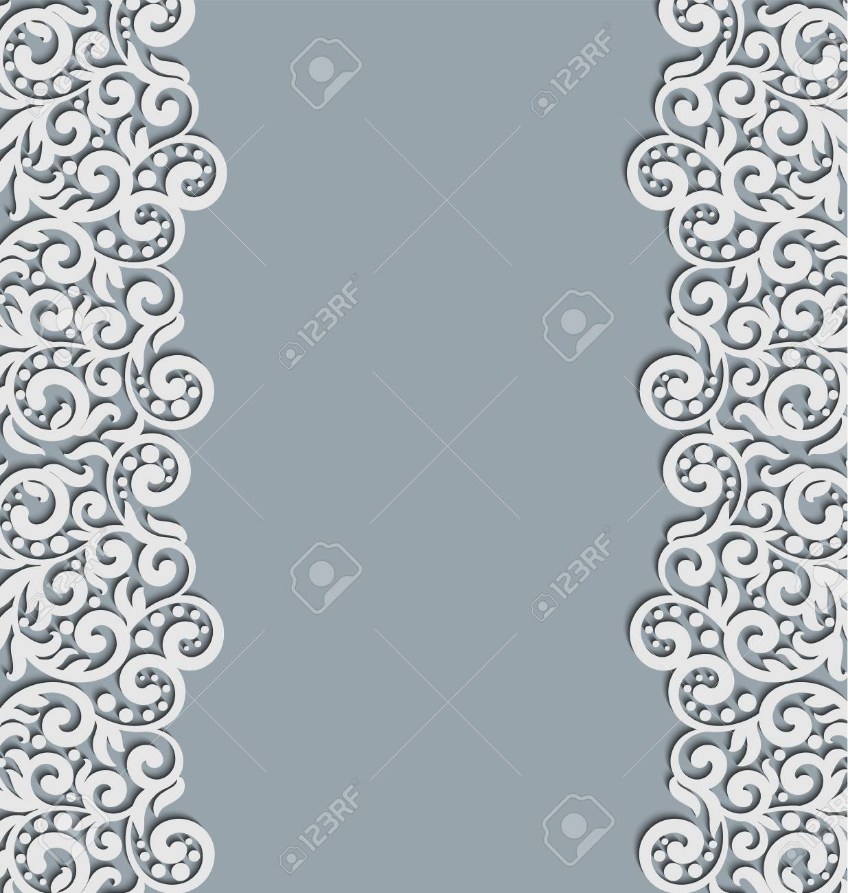Vector Floral Swirls Decoration Abstract 3d Background For Invitation