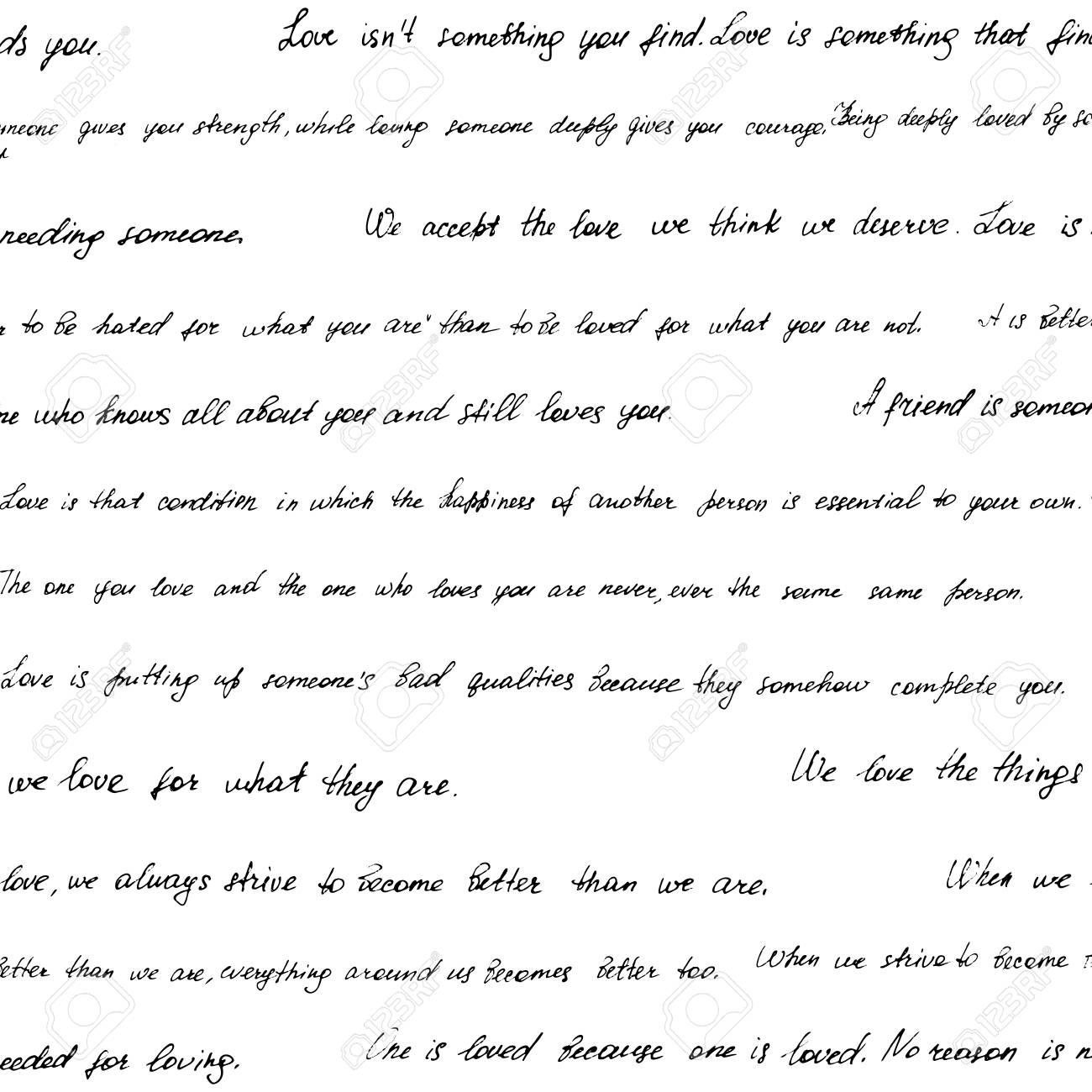Patrón Transparente Hecho De Texto Manuscrito Frases Y Citas Sobre El Amor Y Las Relaciones