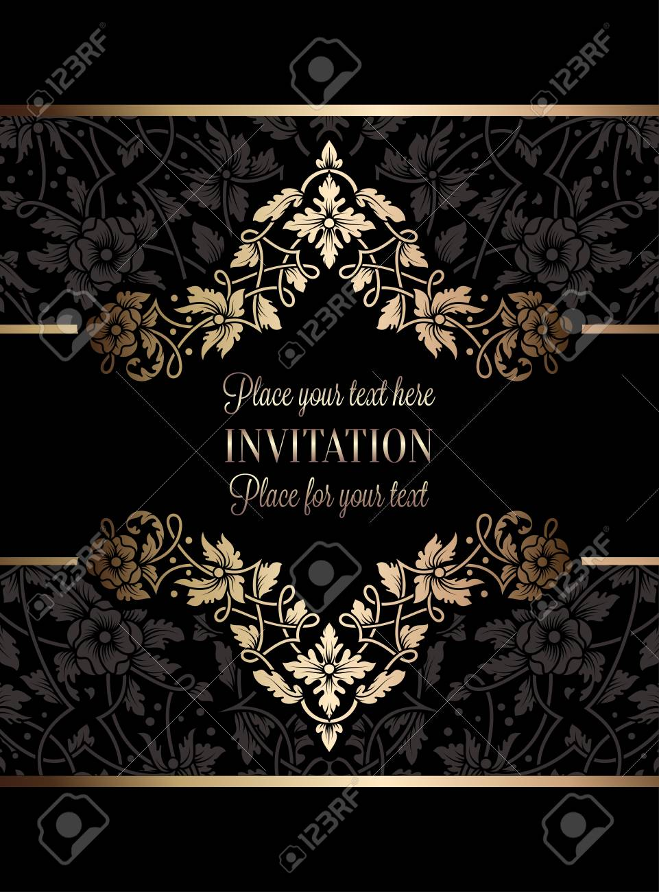 Floral Invitation Card Or Background With Antique, Luxury Black.. Royalty  Free Cliparts, Vectors, And Stock Illustration. Image 79316298.