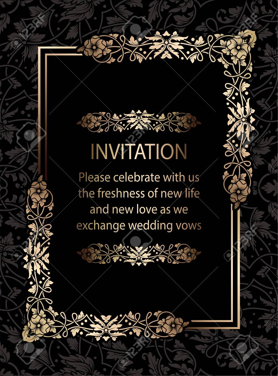 Floral Invitation Card Or Background With Antique, Luxury Black.. Royalty  Free Cliparts, Vectors, And Stock Illustration. Image 79310260.