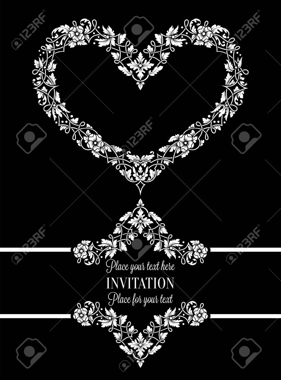 Tarjeta De Invitación Floral Con Antigüedad, Marco Blanco Y Negro De ...
