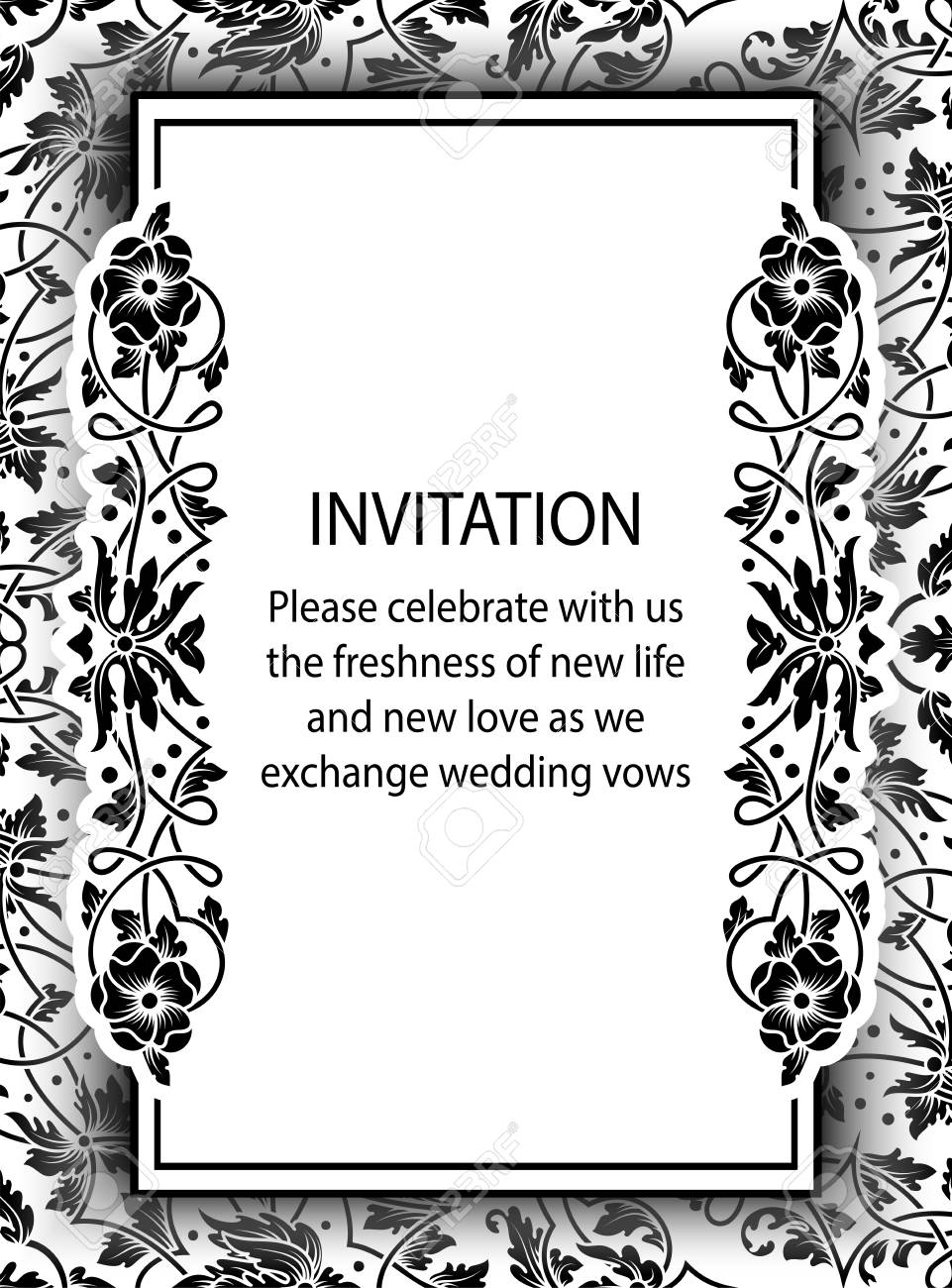 Floral Invitation Card With Antique Luxury Black And White Vintage