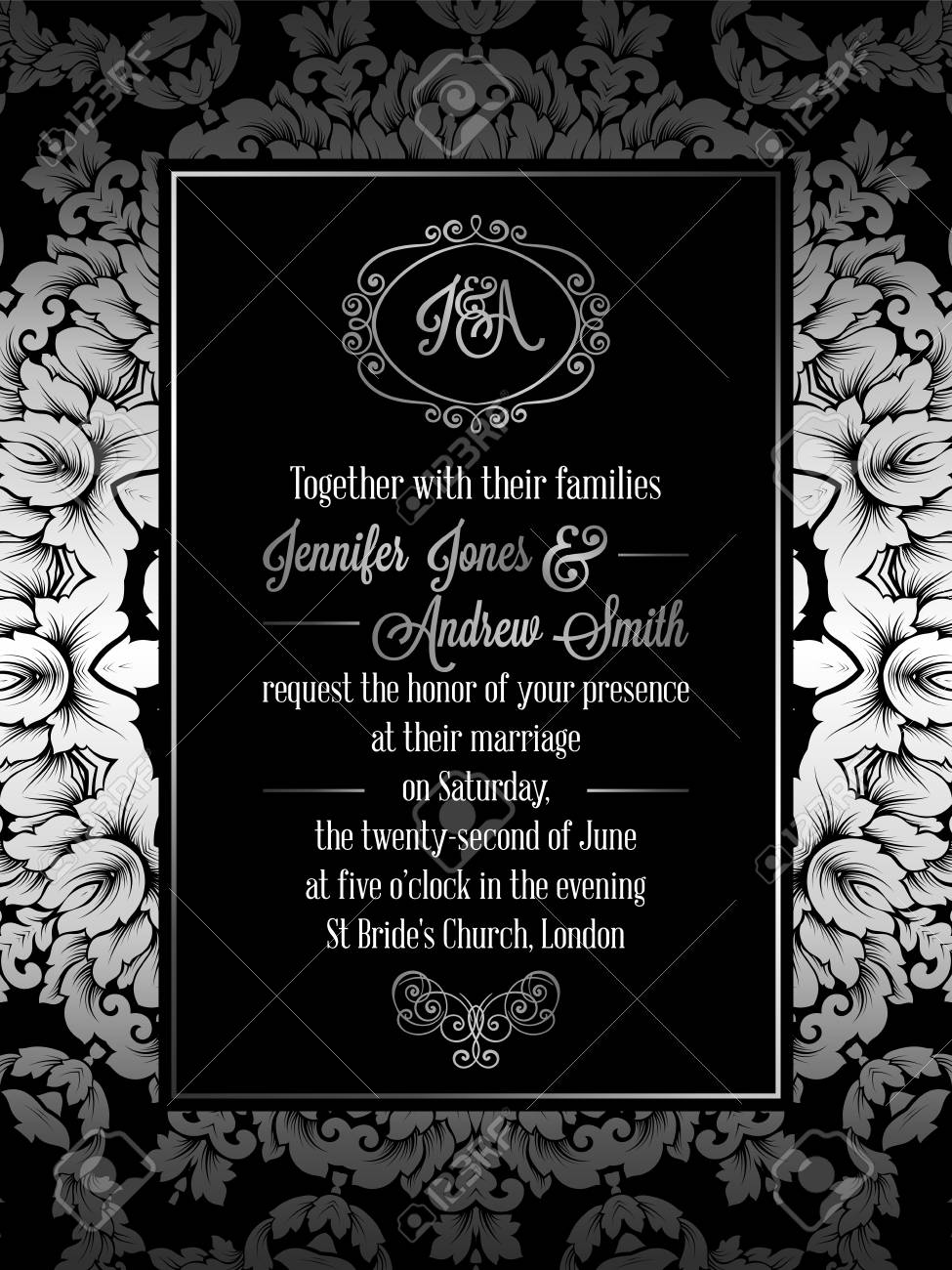 Vintage Baroque Style Wedding Invitation Card Template Elegant Royalty Free Cliparts Vectors And Stock Illustration Image 81581698