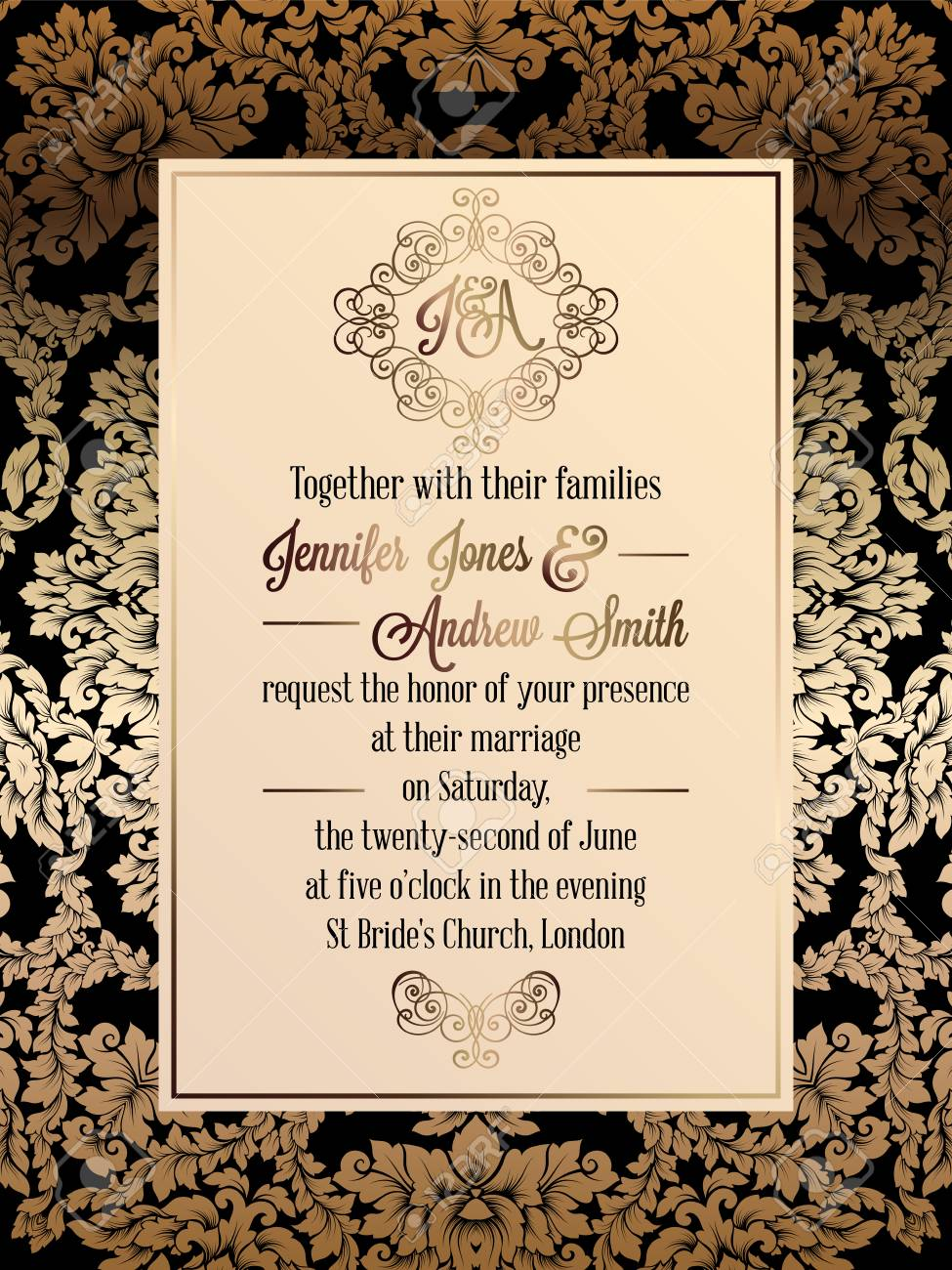 Vintage baroque style wedding invitation card template elegant imagens vintage baroque style wedding invitation card template elegant formal design with damask background traditional decoration for wedding stopboris Gallery