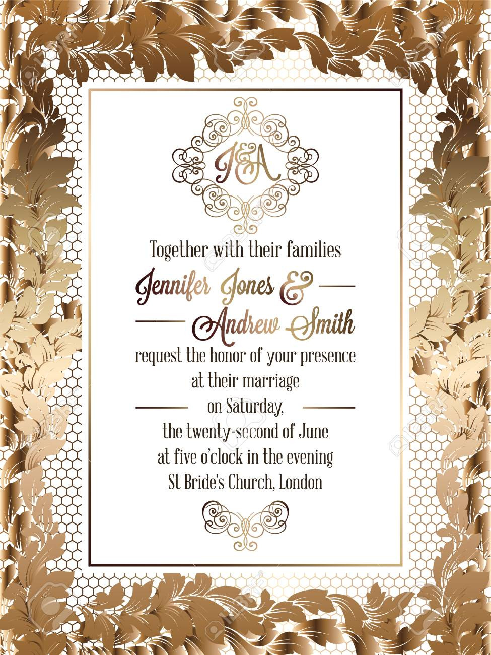 Vintage baroque style wedding invitation card template elegant vector vintage baroque style wedding invitation card template elegant formal design with damask background traditional decoration for wedding stopboris Images