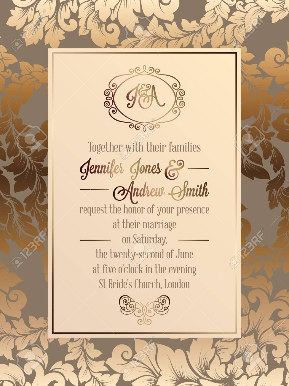 Vintage baroque style wedding invitation card template elegant vector vintage baroque style wedding invitation card template elegant formal design with damask background traditional decoration for wedding stopboris Image collections