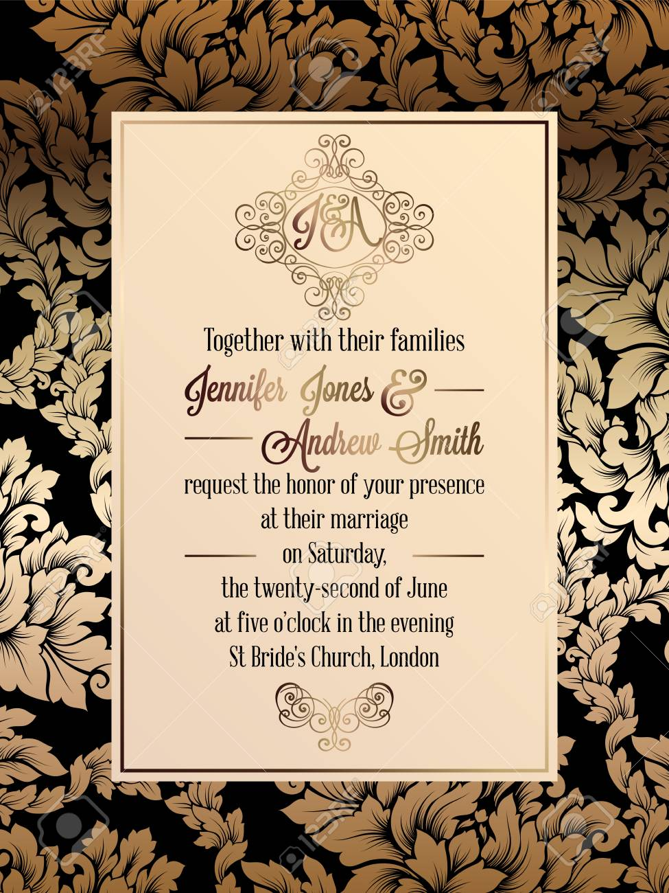 Vintage Baroque Style Wedding Invitation Card Template Elegant Royalty Free Cliparts Vectors And Stock Illustration Image 81552040