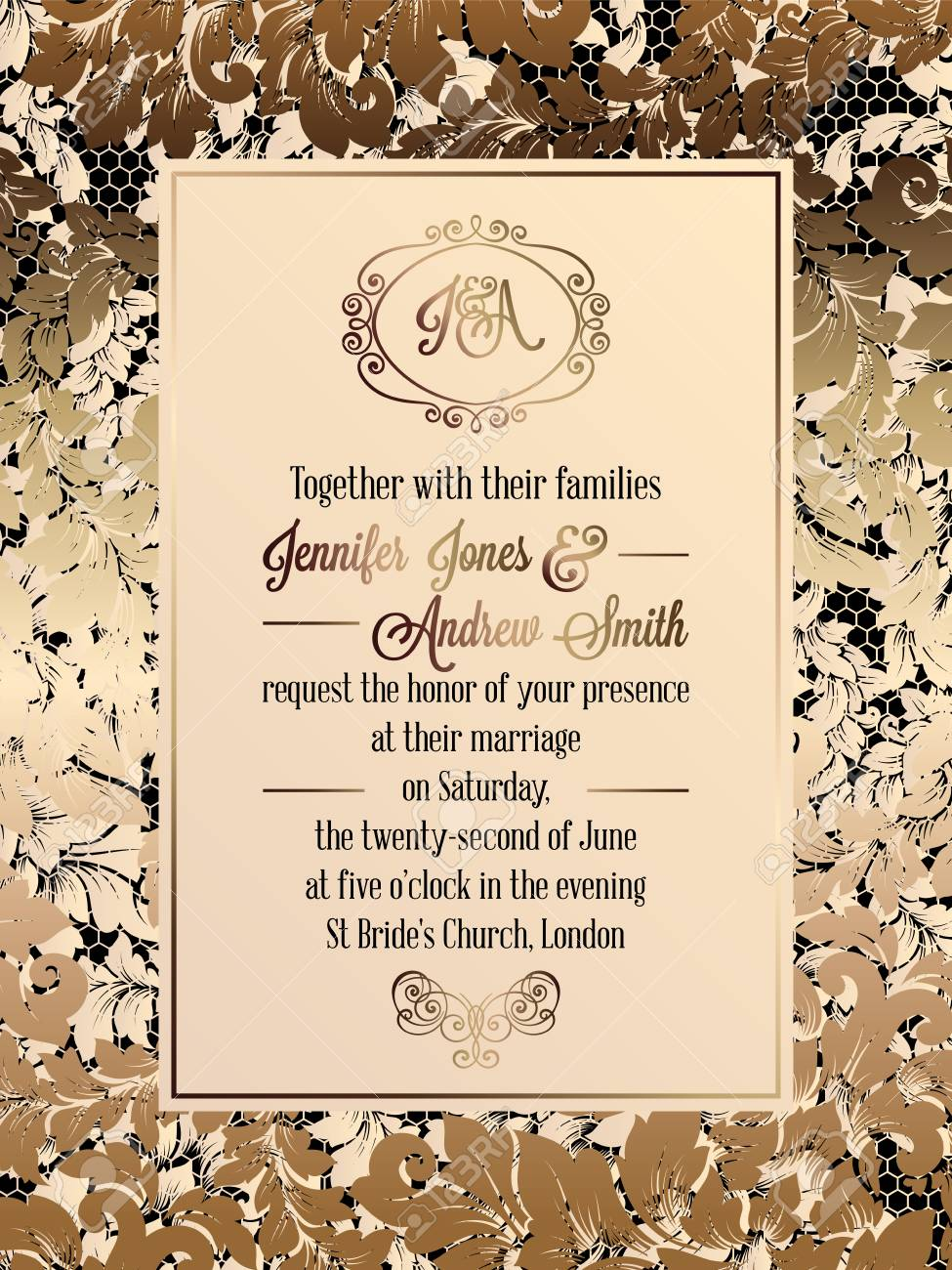 Vintage Baroque Style Wedding Invitation Card Template.. Elegant.. Royalty  Free Cliparts, Vectors, And Stock Illustration. Image 81564760.