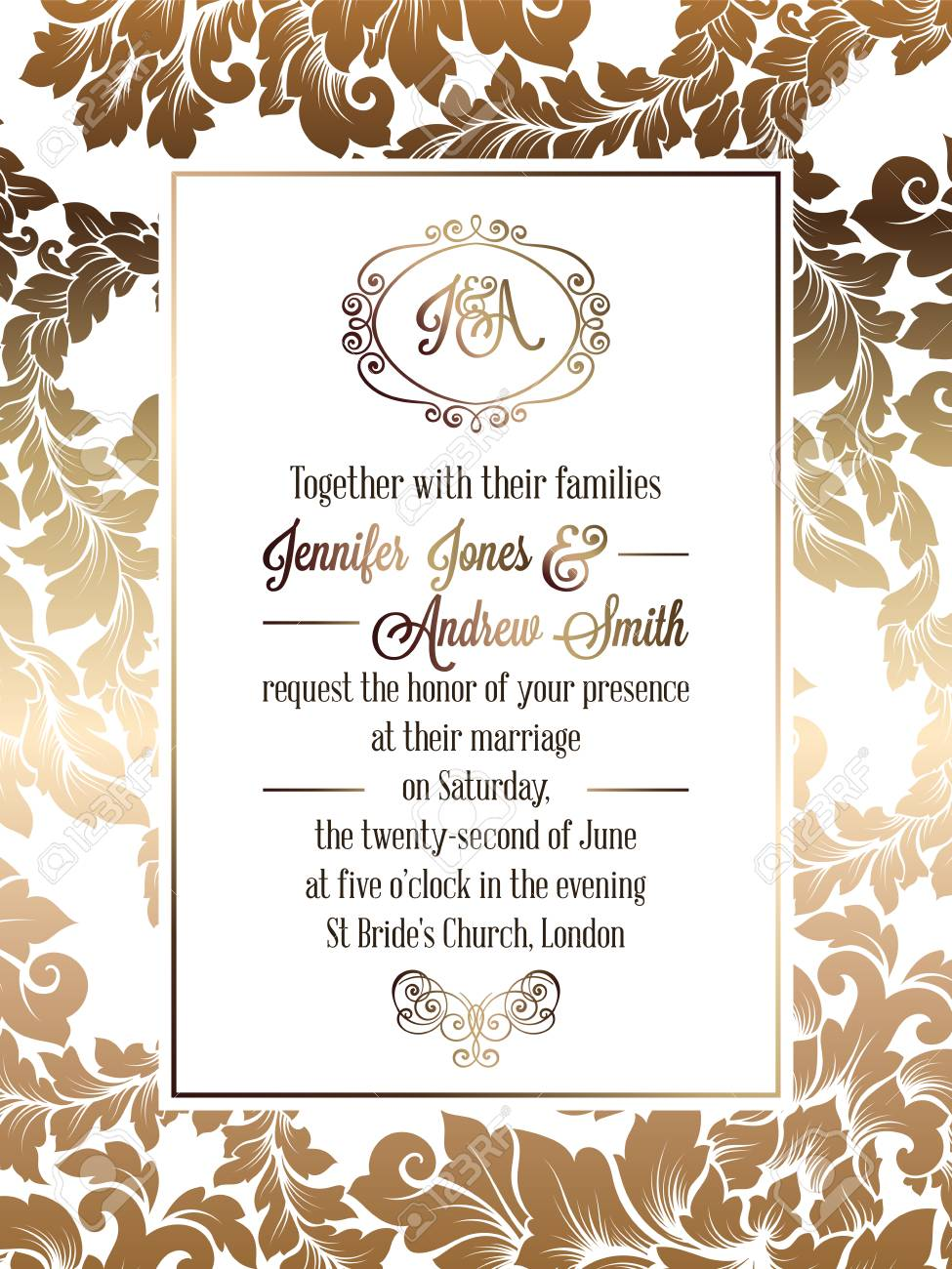 Vintage Baroque Style Wedding Invitation Card Template Elegant