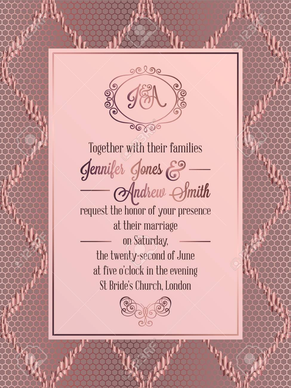 Vintage baroque style wedding invitation card template elegant imagens vintage baroque style wedding invitation card template elegant formal design with damask background traditional decoration for wedding stopboris Image collections