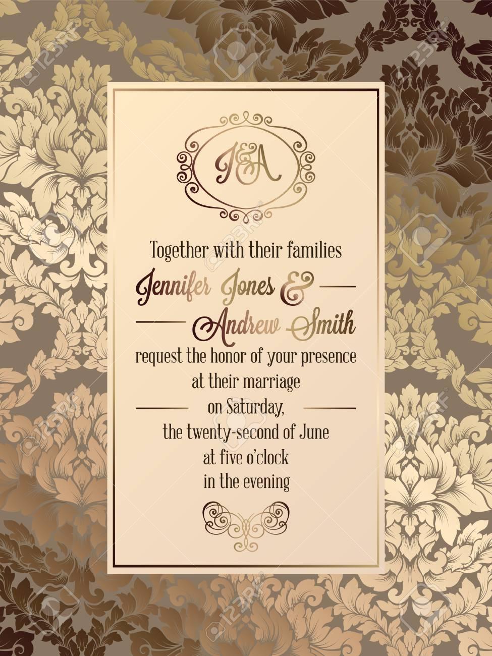 Vintage baroque style wedding invitation card template.. Elegant..