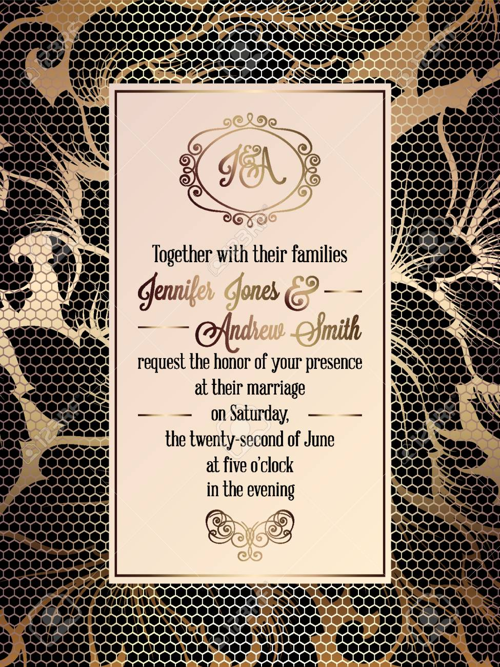 Vintage baroque style wedding invitation card template elegant 81896371 vintage baroque style wedding invitation card template elegant formal design with damask background g stopboris Gallery