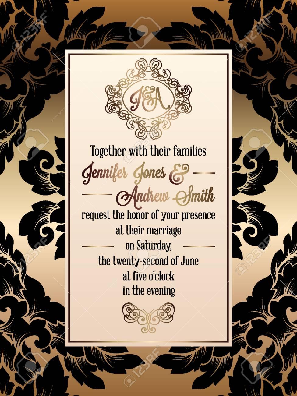 Vintage baroque style wedding invitation card template elegant vector vintage baroque style wedding invitation card template elegant formal design with damask background traditional decoration for wedding stopboris Choice Image