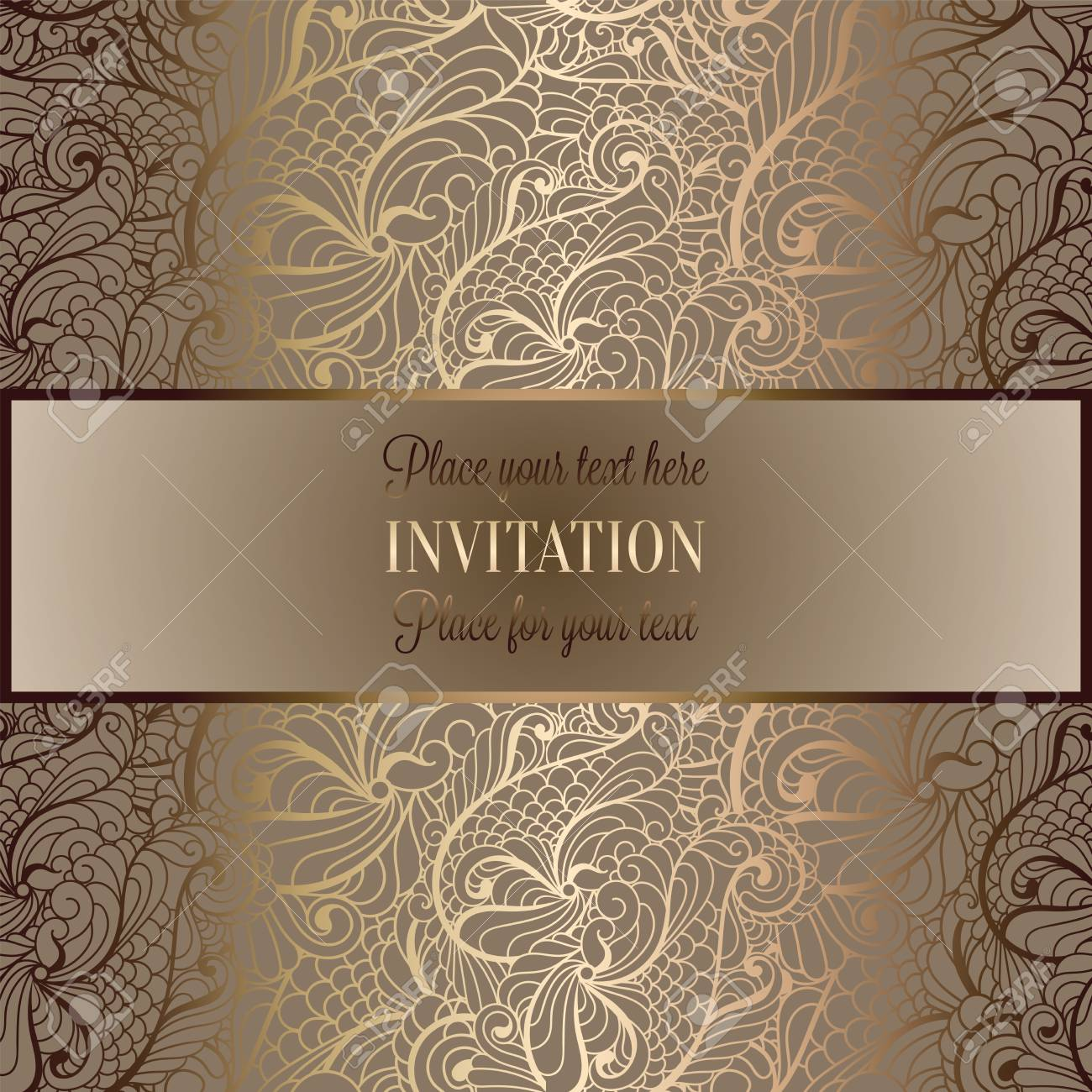 Abstract Background Luxury Beige And Gold Vintage Frame Victorian Banner Damask Floral Wallpaper Ornaments Invitation Card Baroque Style Booklet