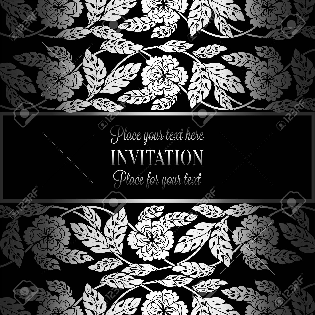Floral Background With Antique Luxury Black Metal Silver Vintage
