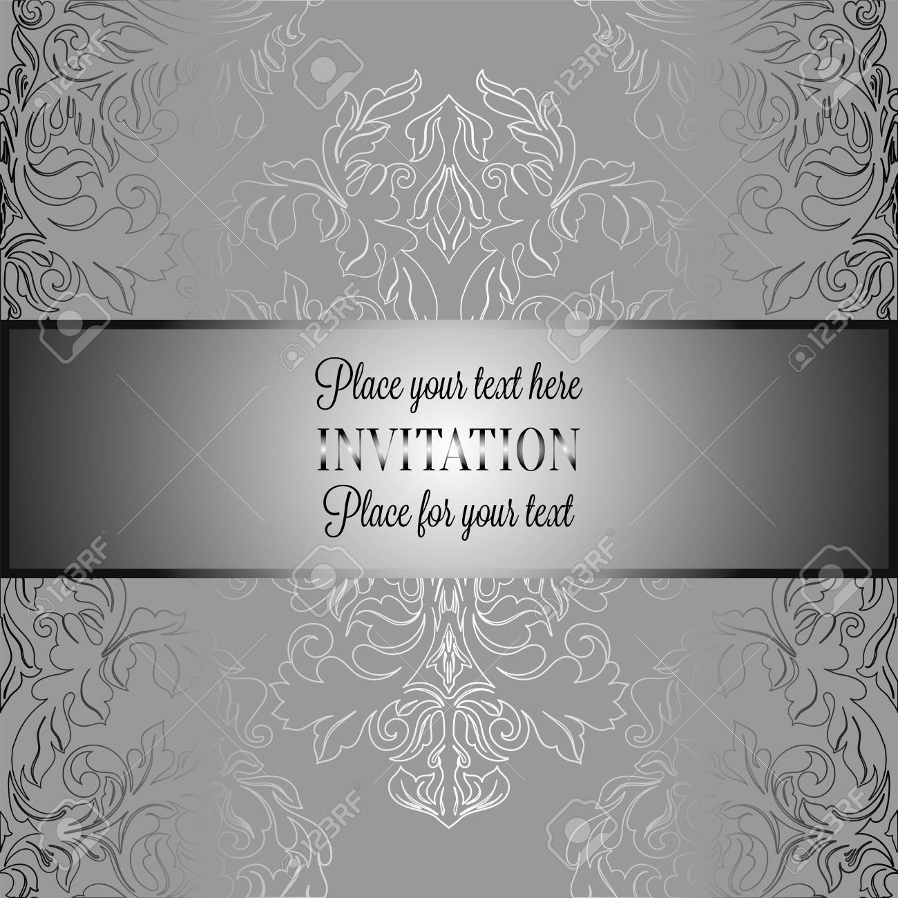 baroque background with antique luxury gray and metal silver vintage frame victorian banner