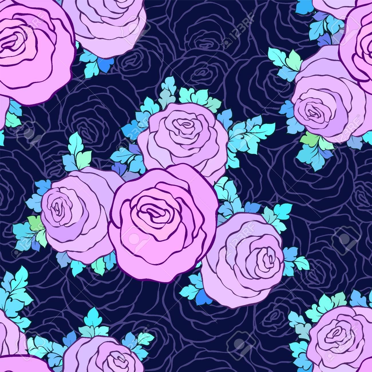Vettoriale Carta Da Parati Decorativa Floreale Luminosa Con Rose