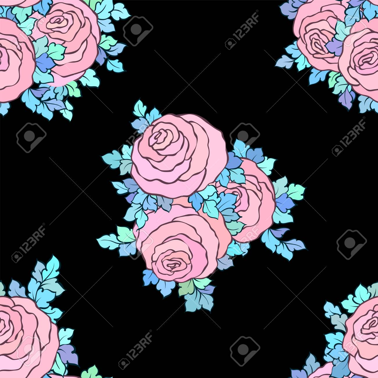 Floral Decorative Bright Wallpaper With Cute Roses Seamless Royalty Free Cliparts Vectors And Stock Illustration Image 85759859