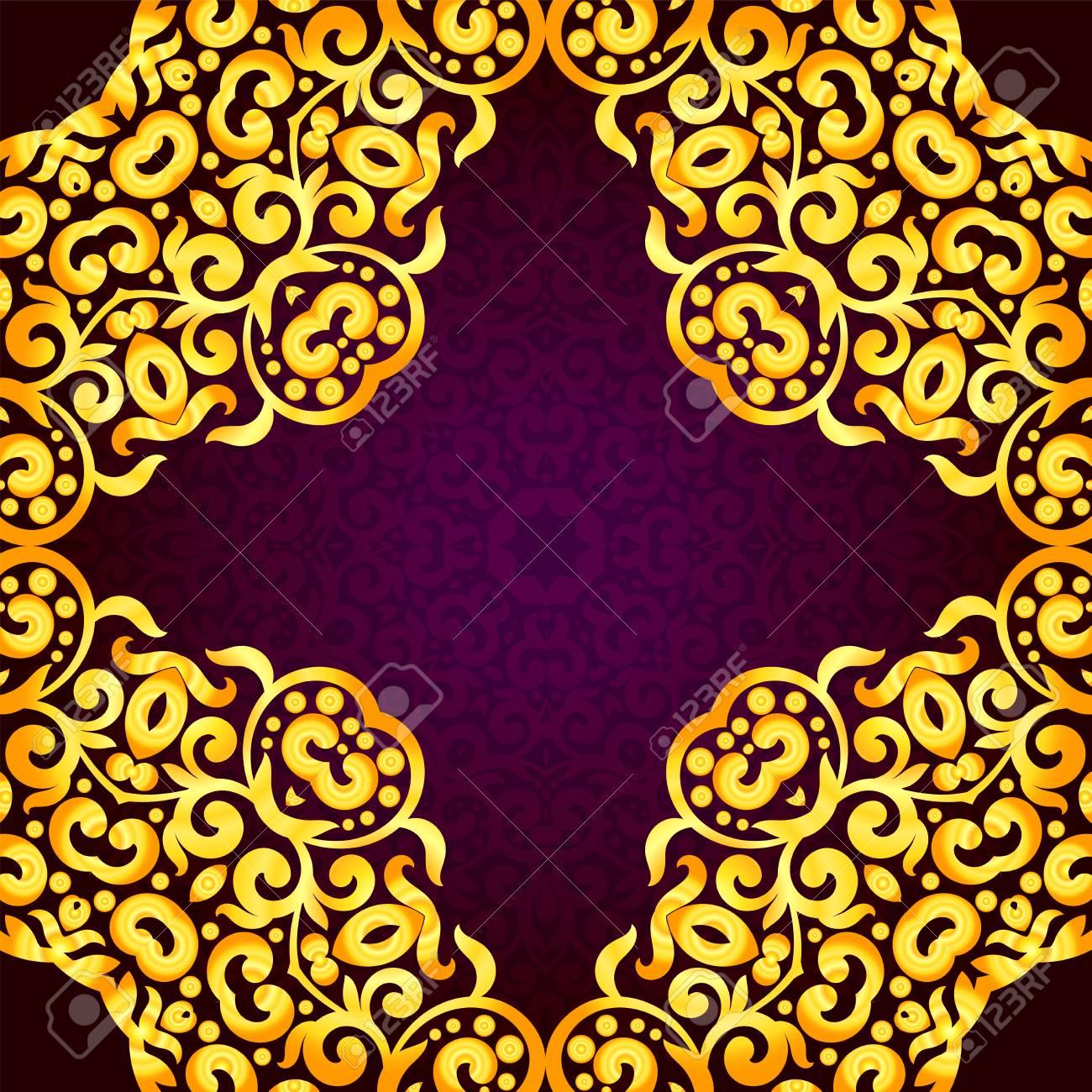 Tarjeta De Invitación De Oro Rico En El Estilo Indio Bohemia Letras Con El árabe Real árabe Y La Plantilla De Oro Religiosa Para El Diseño O El