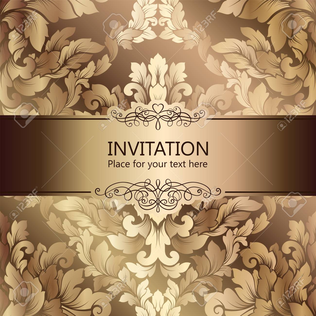 Abstract Background With Luxury Beige And Gold Vintage Frame