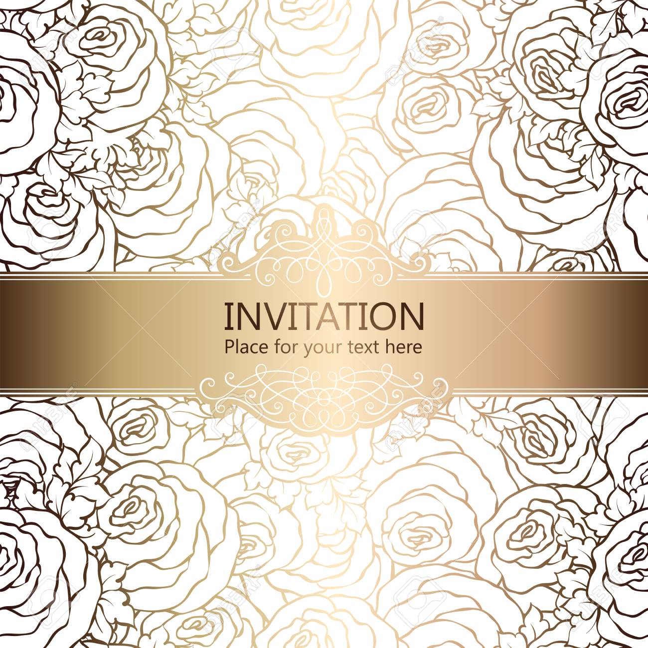 Abstract Background With Roses Luxury White And Gold Vintage