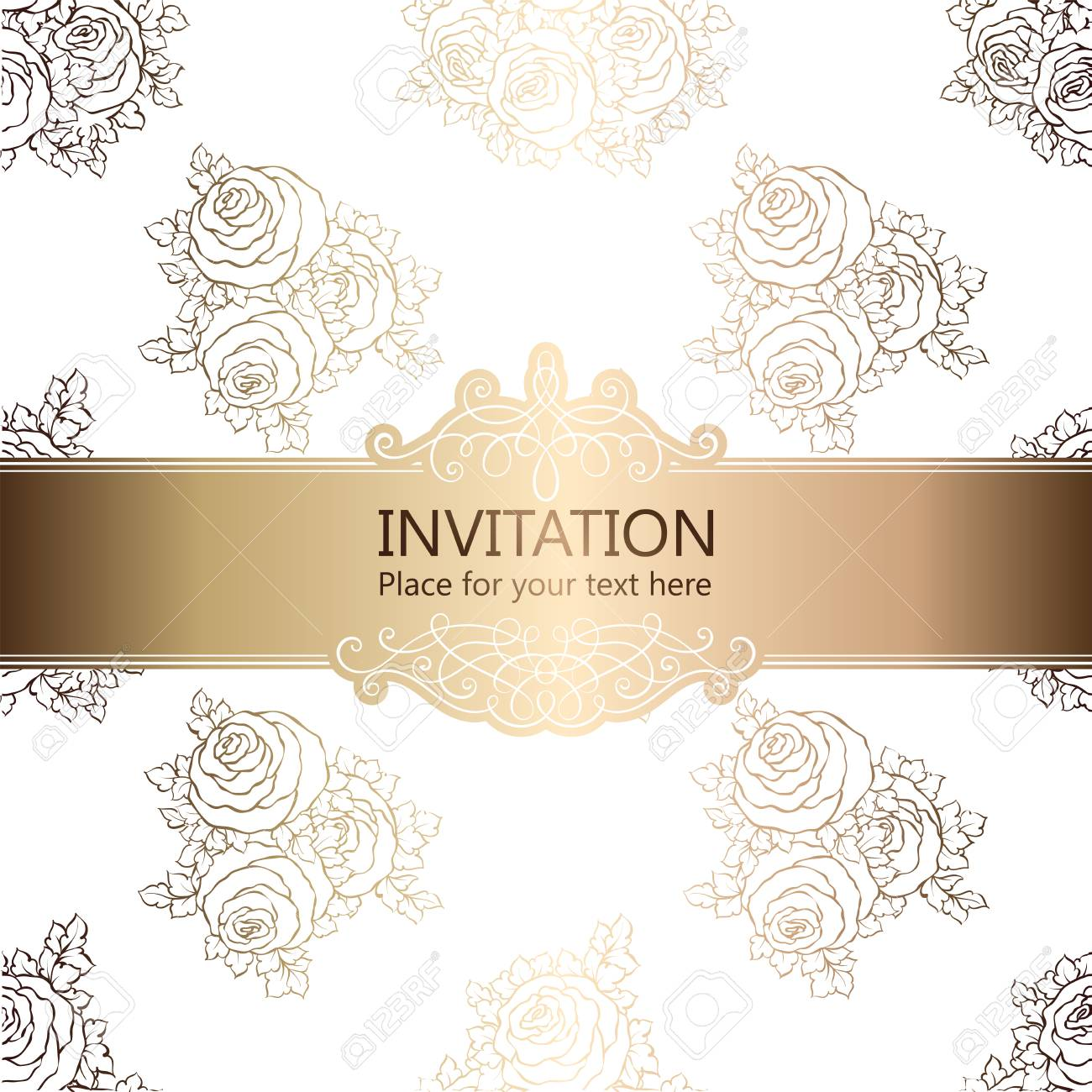 Abstract Background With Roses Luxury White And Gold Vintage Frame Victorian Banner Damask Floral Wallpaper Ornaments Invitation Card Baroque