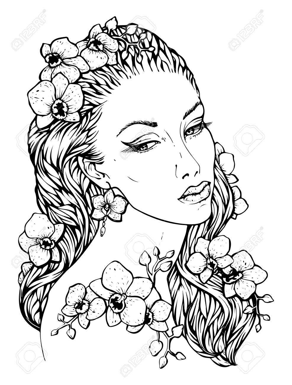 Chica Boho Bastante Elegante Con Corona Floral Hecha De Orquídeas ...