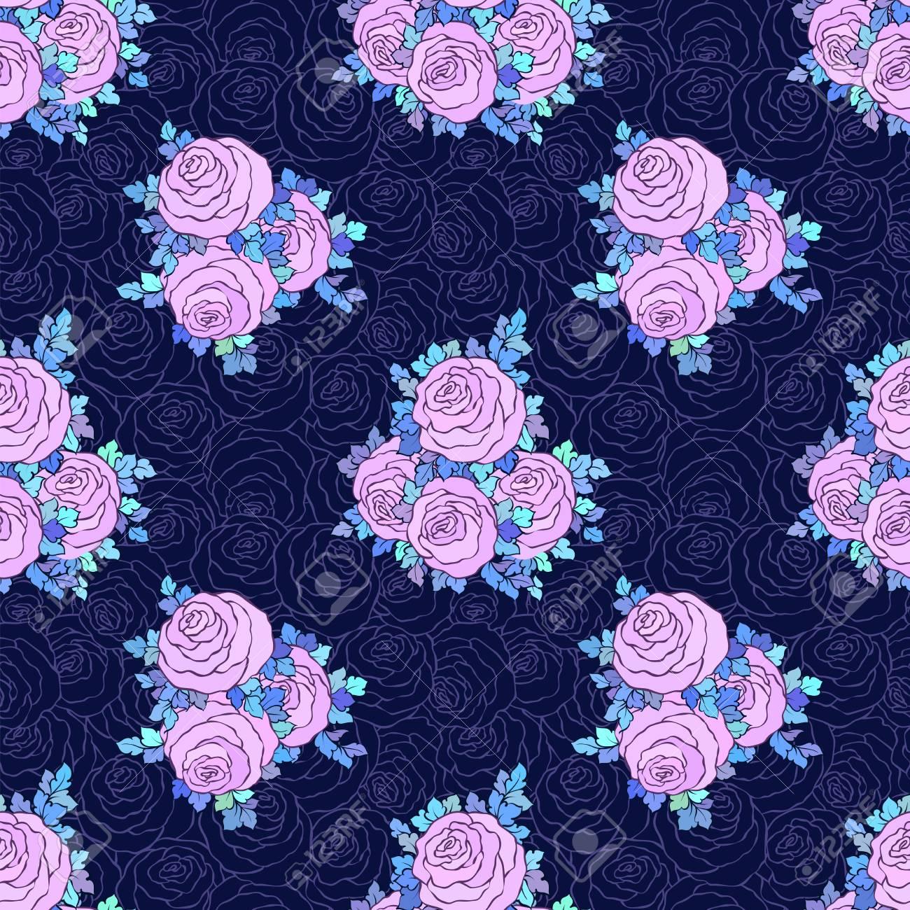 花装飾的な明るい壁紙かわいいバラと青の背景にライラック色で