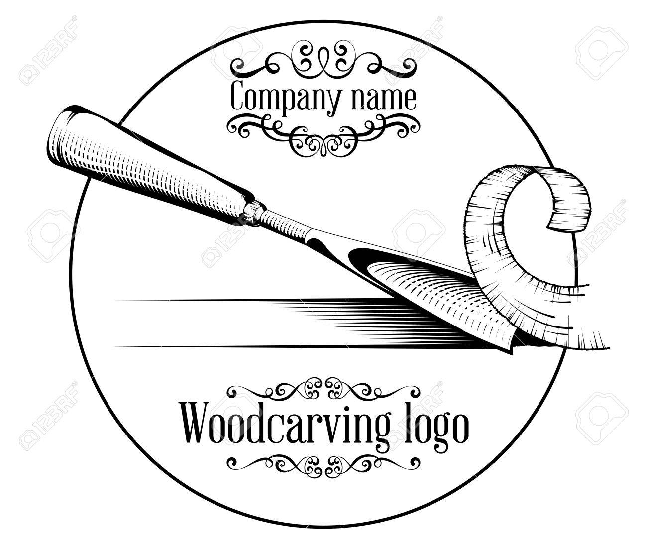 Woodcarving logotype Illustration with a chisel, cutting a wood slice, vintage style logo, black and white isolated. - 88164994