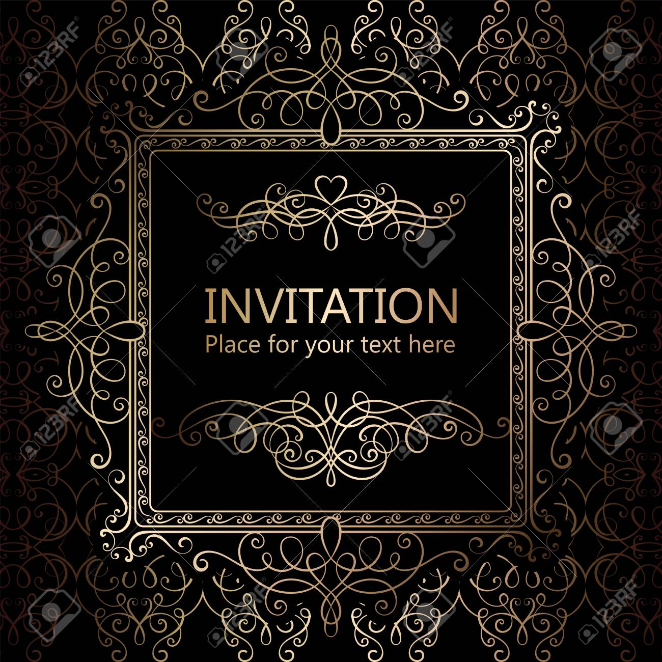 Abstract Background With Calligraphic Luxury Gold Flourishes And Vintage Frame Victorian Bannerwallpaper Ornaments Invitation Card Baroque Style