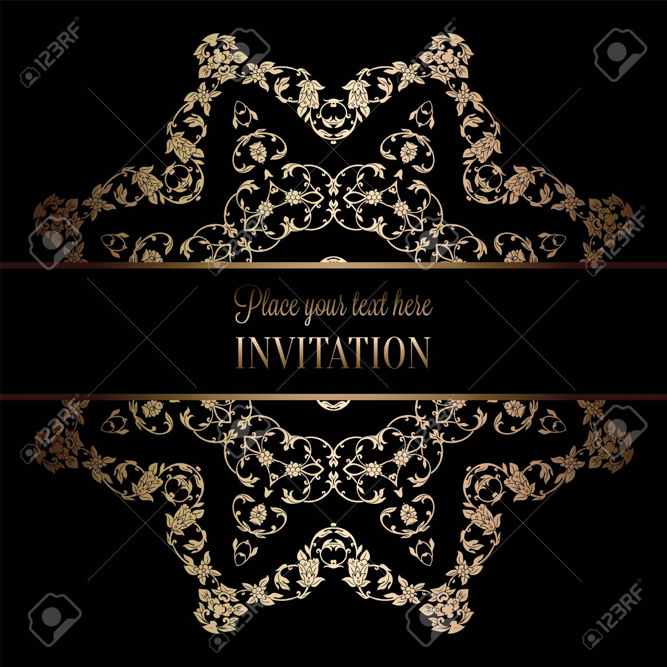 Vintage baroque wedding invitation template with damask background vector vintage baroque wedding invitation template with damask background tradition decoration for wedding vector illustration in black and gold stopboris