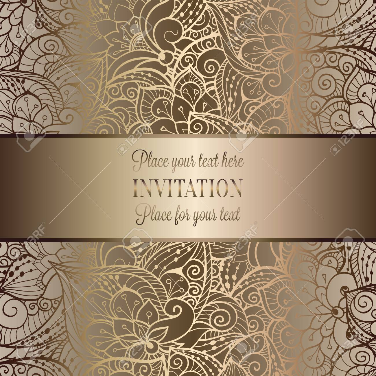 Vintage Baroque Wedding Invitation Template With Butterfly ...