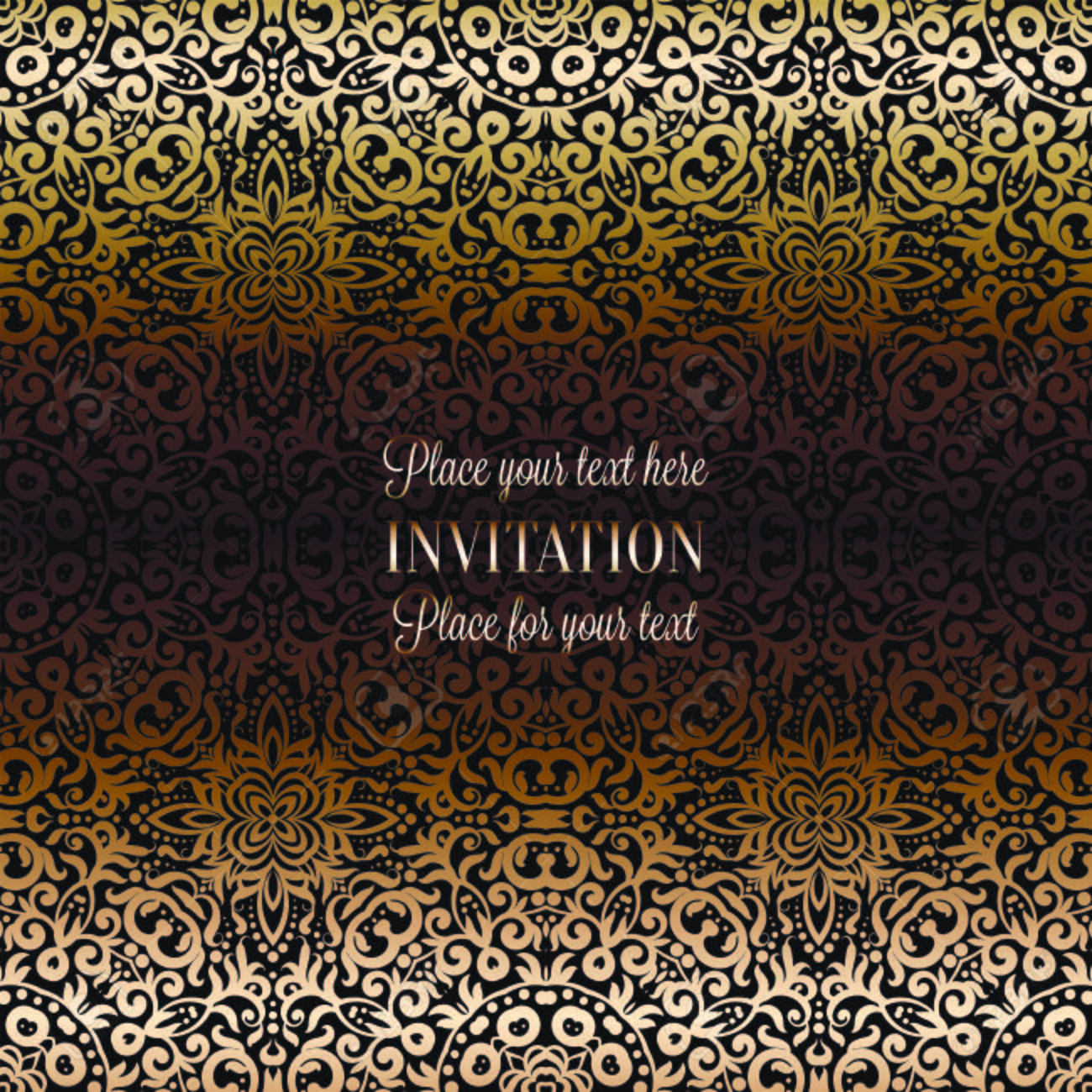 Gold Wedding Invitation Card Template Design With Damask Pattern
