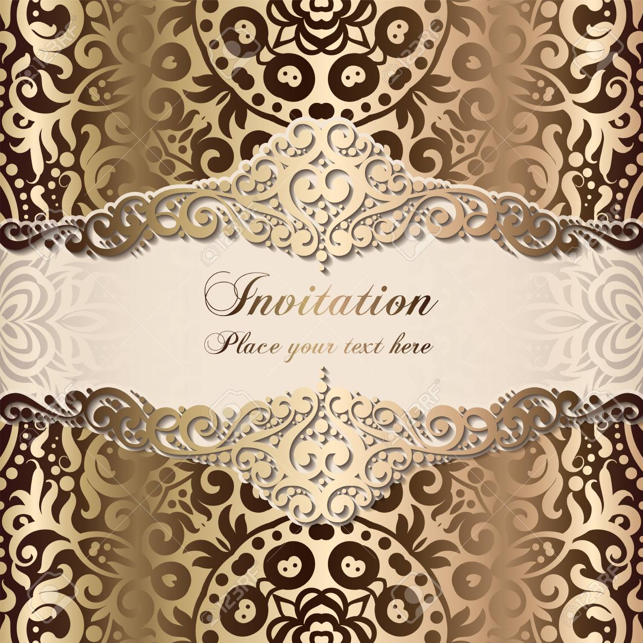 Gold Wedding Invitation Card Template Design With Damask Pattern On