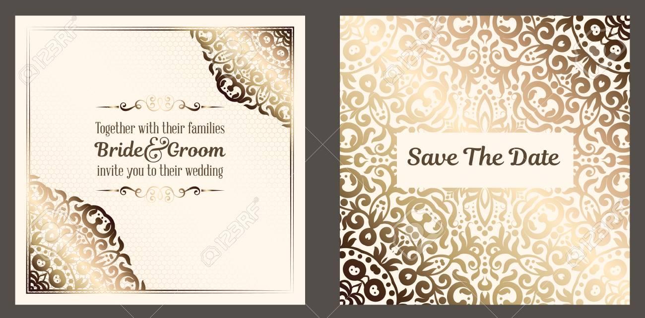 Gold Wedding Invitation card design with damask pattern