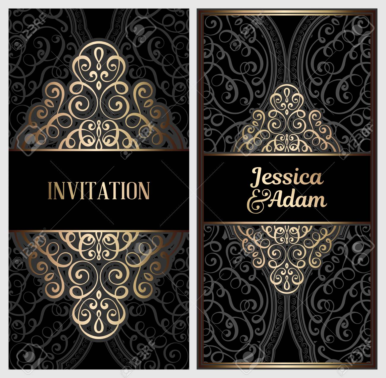 Black And Gold Luxury Wedding Invitation Card With Golden Shiny