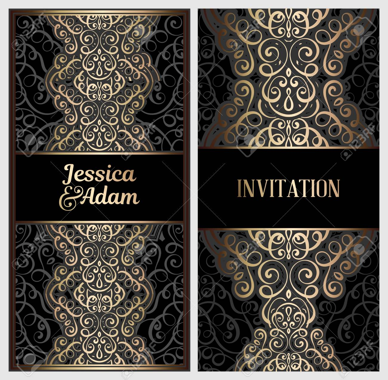 Black And Gold Luxury Wedding Invitation Card With Golden Shiny.. Royalty  Free Cliparts, Vectors, And Stock Illustration. Image 115518181.