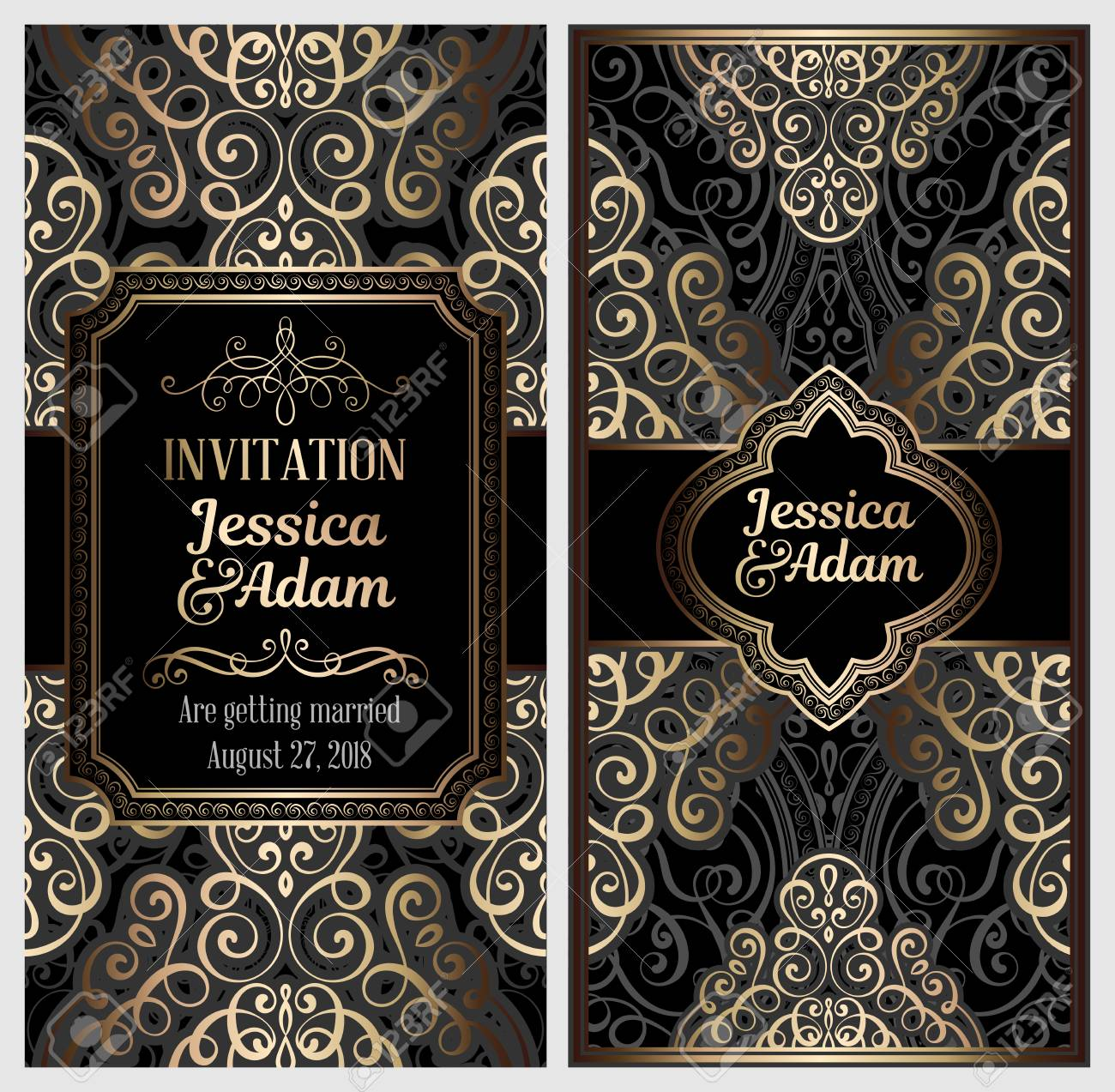 Black And Gold Luxury Wedding Invitation Card With Golden Shiny.. Royalty  Free Cliparts, Vectors, And Stock Illustration. Image 115518298.