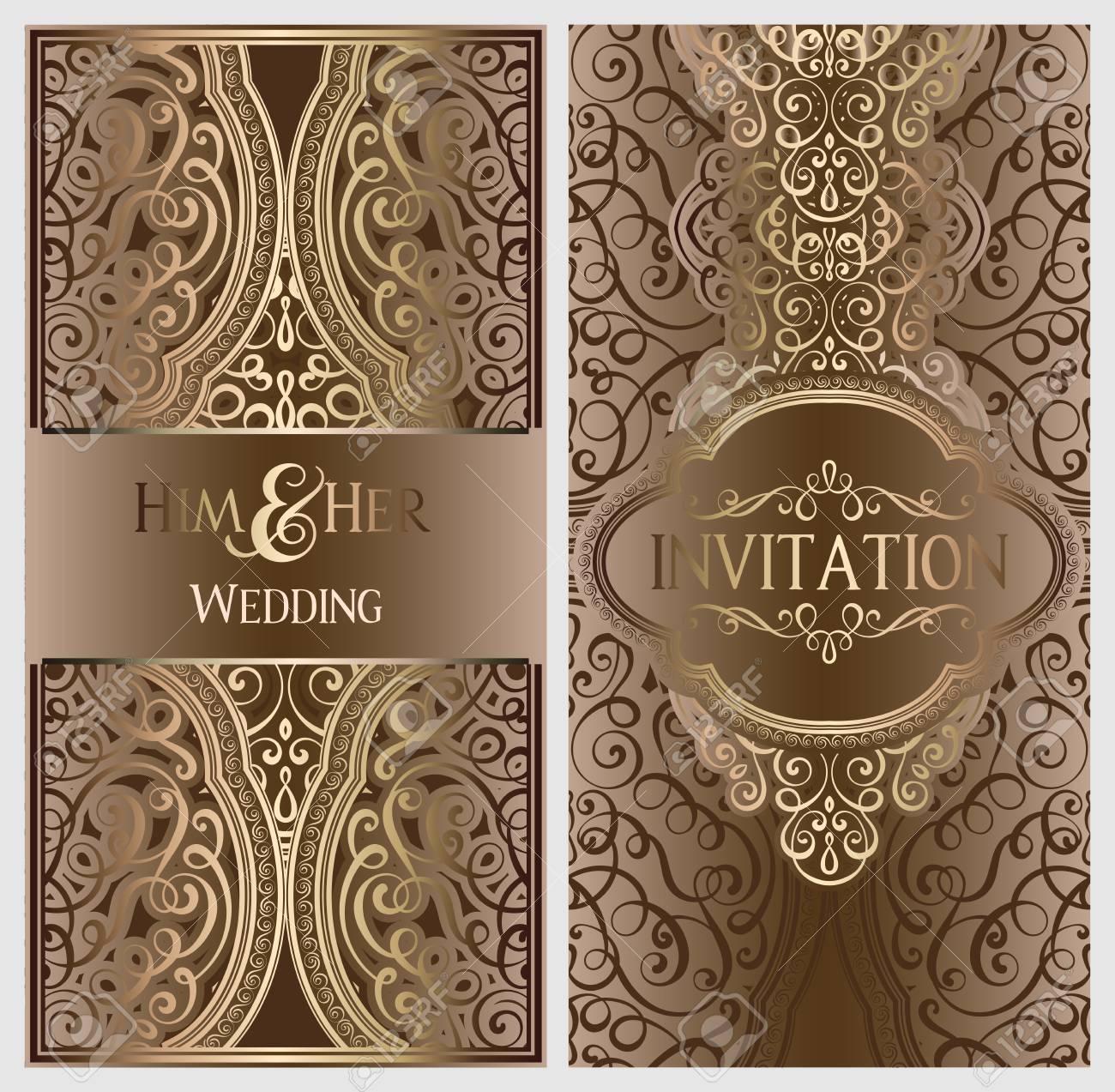Luxury Wedding Invitations.Beige And Gold Luxury Wedding Invitation Card With Golden Shiny