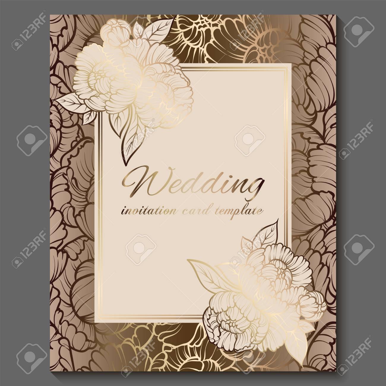 Luxury Wedding Invitations.Antique Royal Luxury Wedding Invitation Gold On White Background