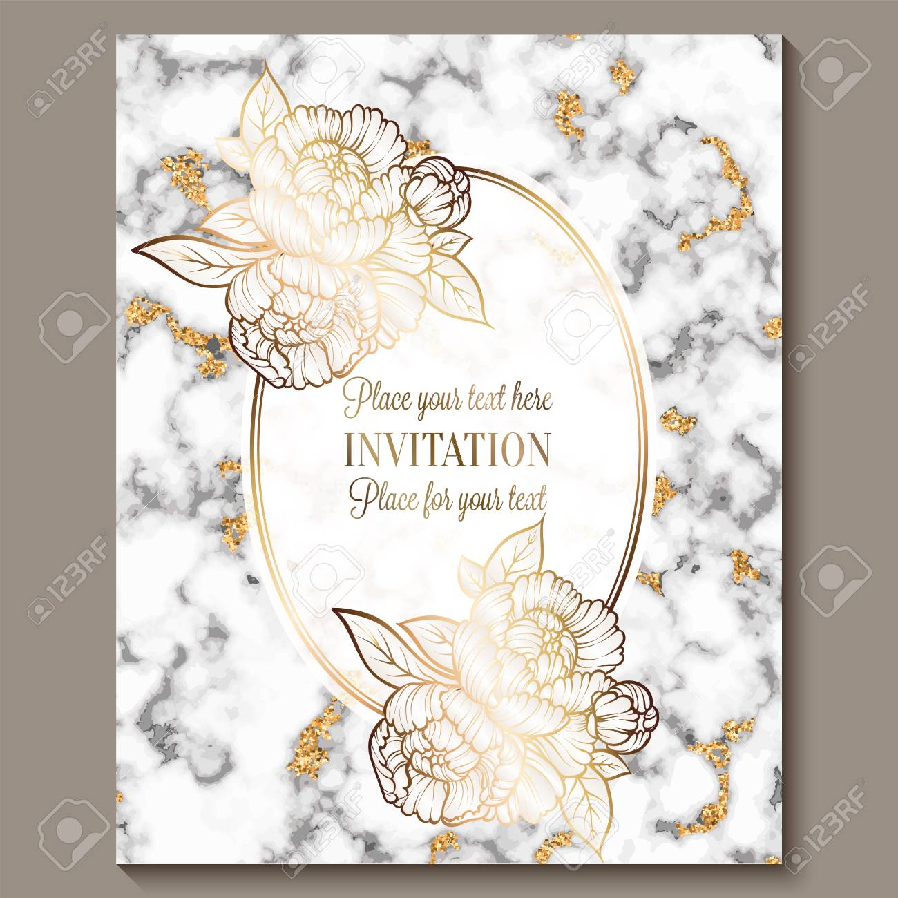 Luxury And Elegant Wedding Invitation Cards With Marble Texture
