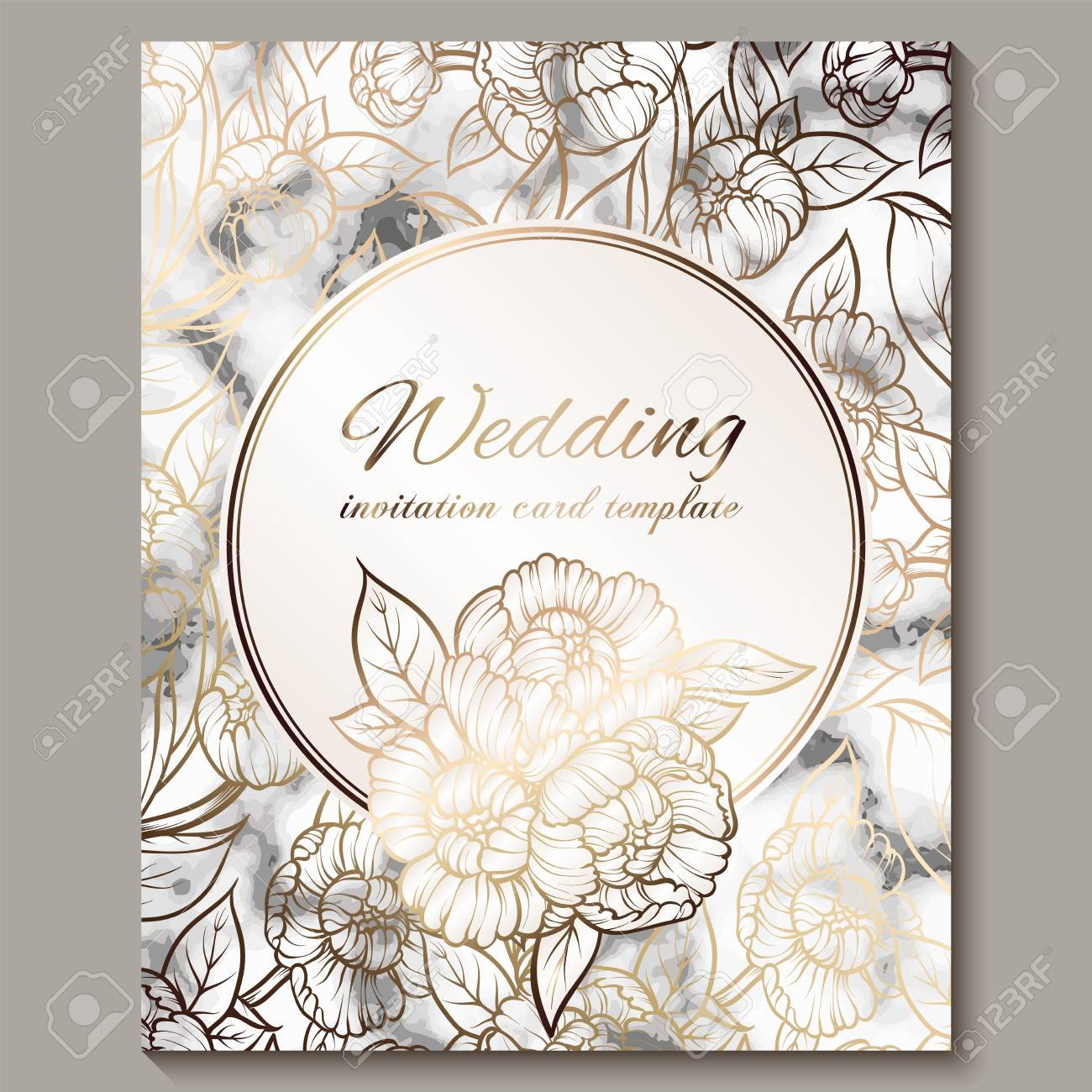 Fancy Wedding Invitations.Luxury And Elegant Wedding Invitation Cards With Marble Texture