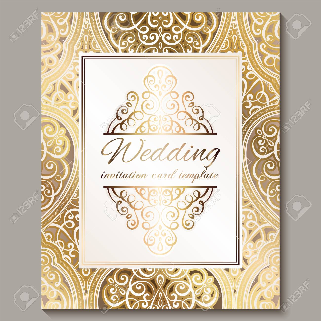 Wedding Invitation Card With Gold Shiny Eastern And Baroque Rich