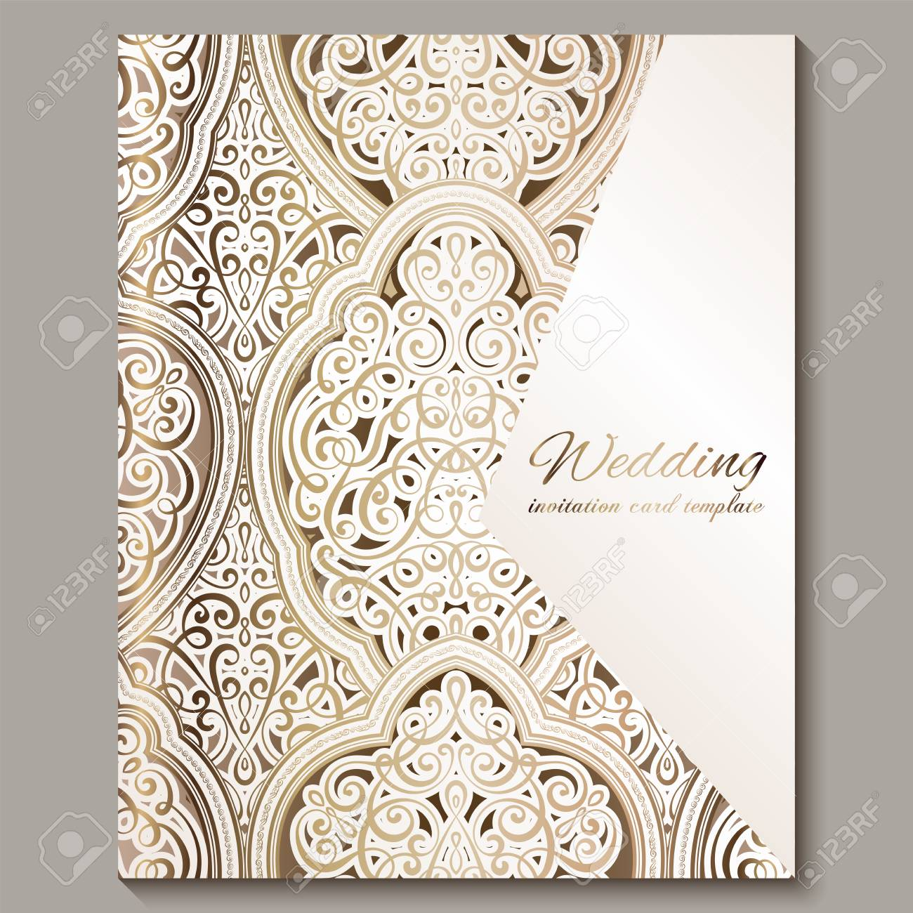 Wedding Invitation Card With Gold Shiny Eastern And Baroque Rich Foliage Ornate Islamic Background For Your Design Islam Arabic Indian Dubai