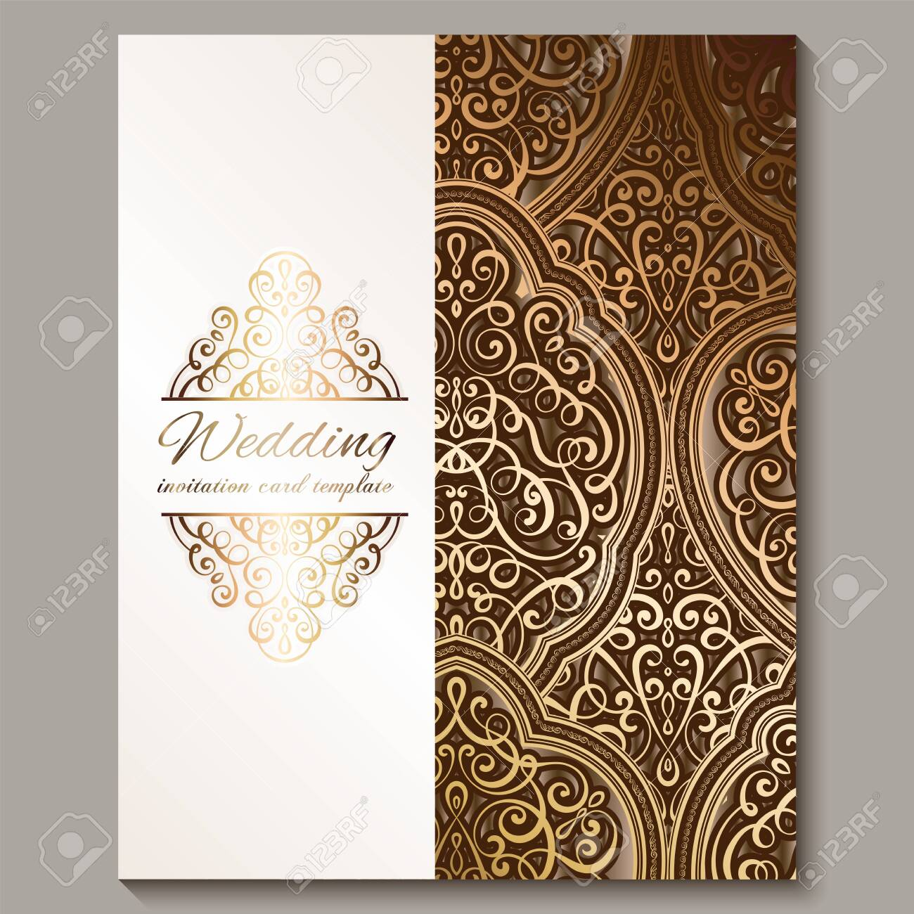 Wedding Invitation Card With Bronze And Gold Shiny Eastern And Baroque Rich Foliage Ornate Islamic Background For Your Design Islam Arabic Indian