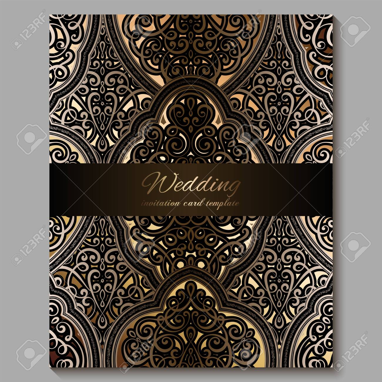 Wedding Invitation Card With Gold Shiny Eastern And Baroque Rich Royalty Free Cliparts Vectors And Stock Illustration Image 125413913