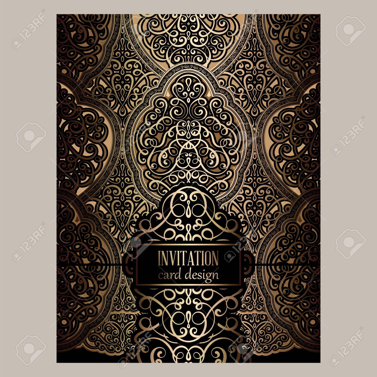 Wedding Invitation Card With Black And Gold Shiny Eastern And